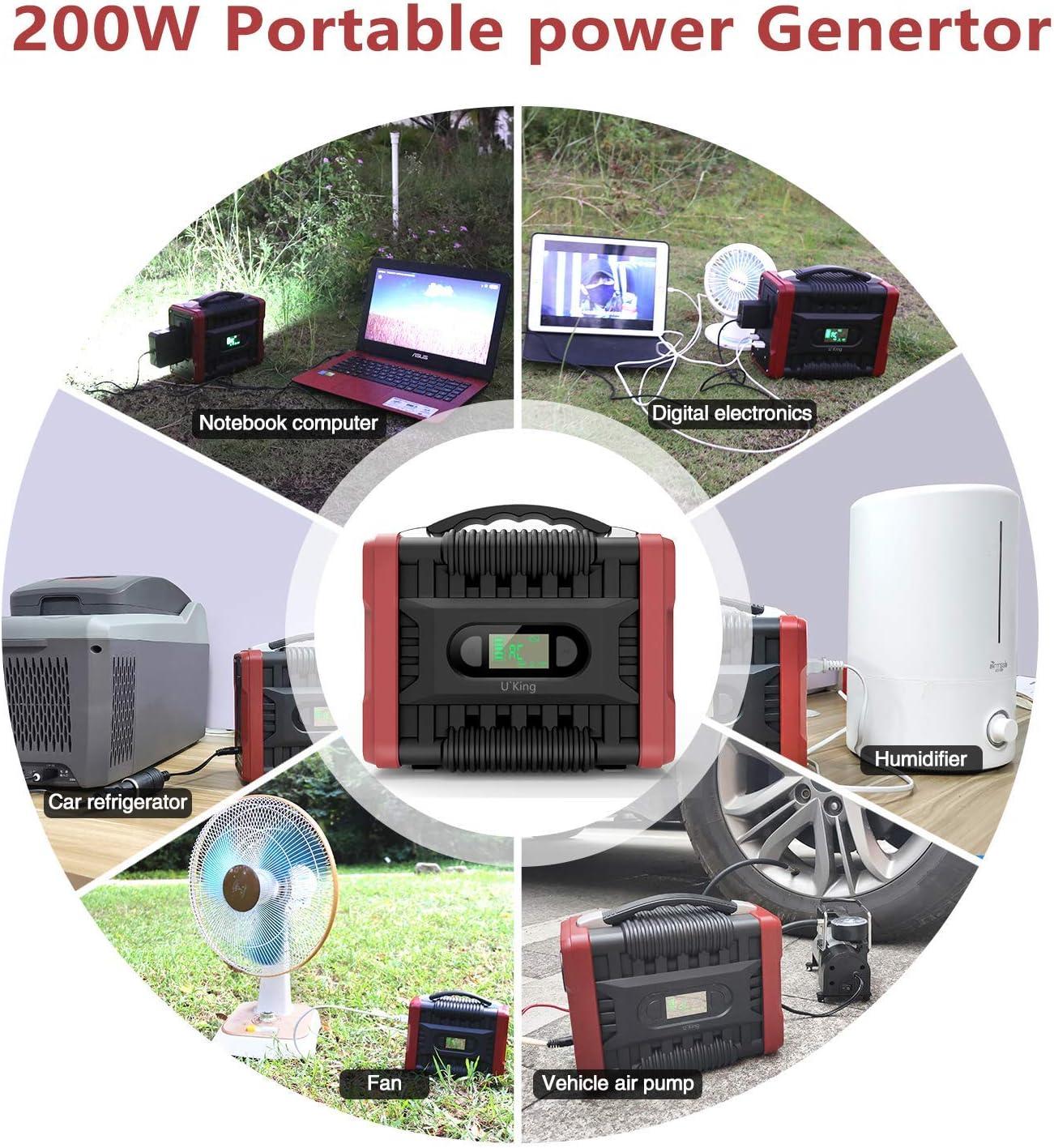 HLDUYIN Power Station,222Wh//60000mAh G/én/érateur d/Énergie Solaire Portable Onduleur AC et DC avec 4 Ports USB,Solaireb G/én/érateur durgence Station pour Le Camping en Plein Air