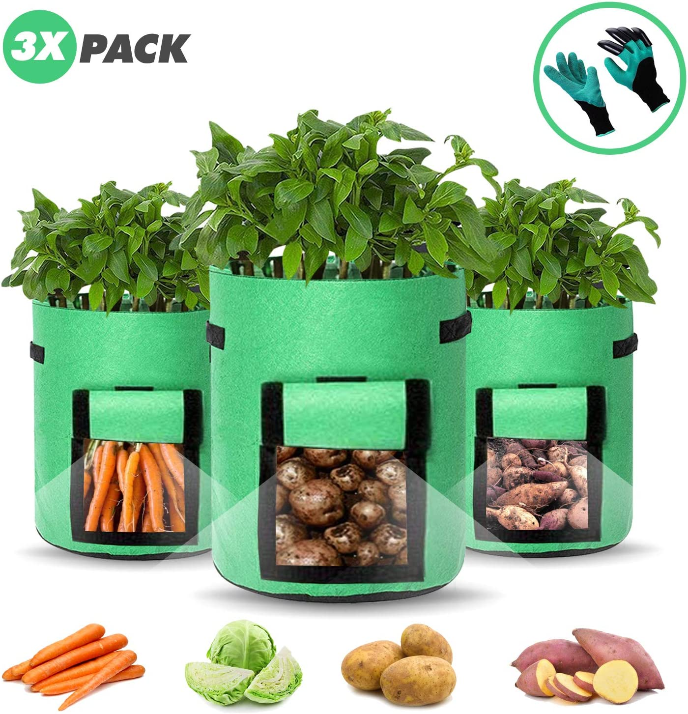 30 Litres // 7 Gallon Size /& Includes 1 Pair of Garden Gloves Outdoor Fabric Garden Planters ZACAL 3x Potato Grow Bags Plant Pots Perfect for Vegetables Plants /& Flowers Herbs