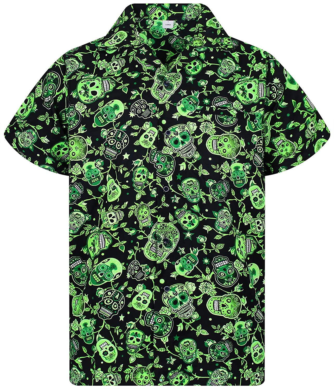 TALLA XS. Original King Kameha | Funky Camisa Hawaiana Señores | XS-12XL |Manga Corta Bolsillo Delantero | impresión De Hawaii| Skull |diferentes colores