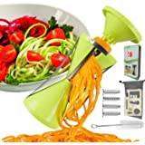 RC Vegetable Spiralizer, 4-Blade Vegetable Spiral Slicer, 150% Bigger, 50% Less Wastage, Perfect Veggie Spaghetti/Pasta Maker with Cleaning Brush and Bonus SwissCard (Green)
