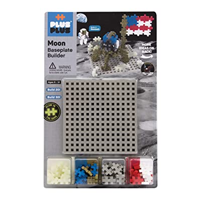 PLUS PLUS - Baseplate Builder - Moon, Apollo 11 Space Playset - Base Accessory for Building and displaying - Construction Building STEM | STEAM Toy, Interlocking Mini Puzzle Blocks for Kids: Toys & Games