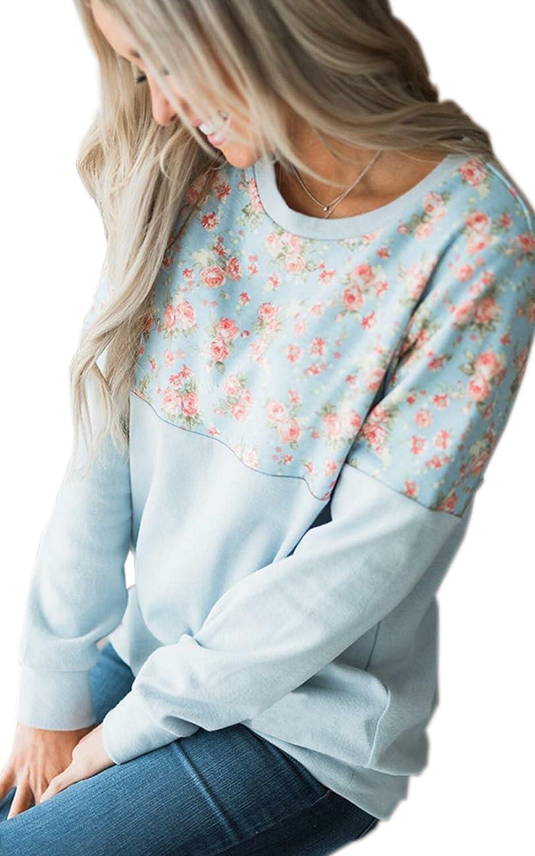 ECOWISH Damen Pullover Lose Langarm Sweatshirt Patchwork Blumen Top Kurz Sweater EH820