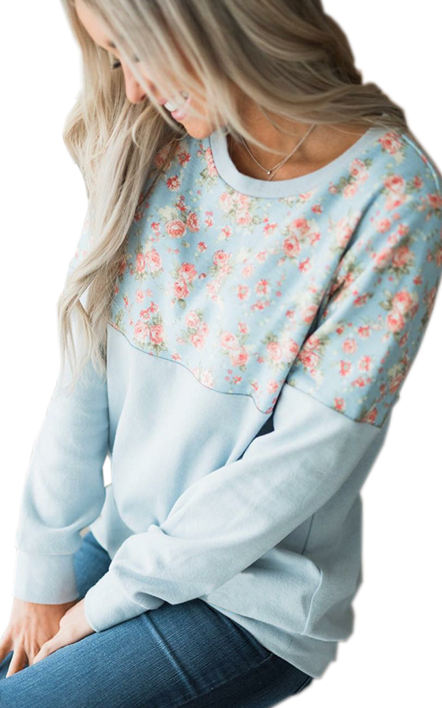 ECOWISH Womens Floral Print Casual Pullovers Round Neck Long Sleeve Tops Blue M