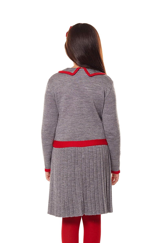 Vestido para niña 9-10 años elegante color gris bordado rojo con ...