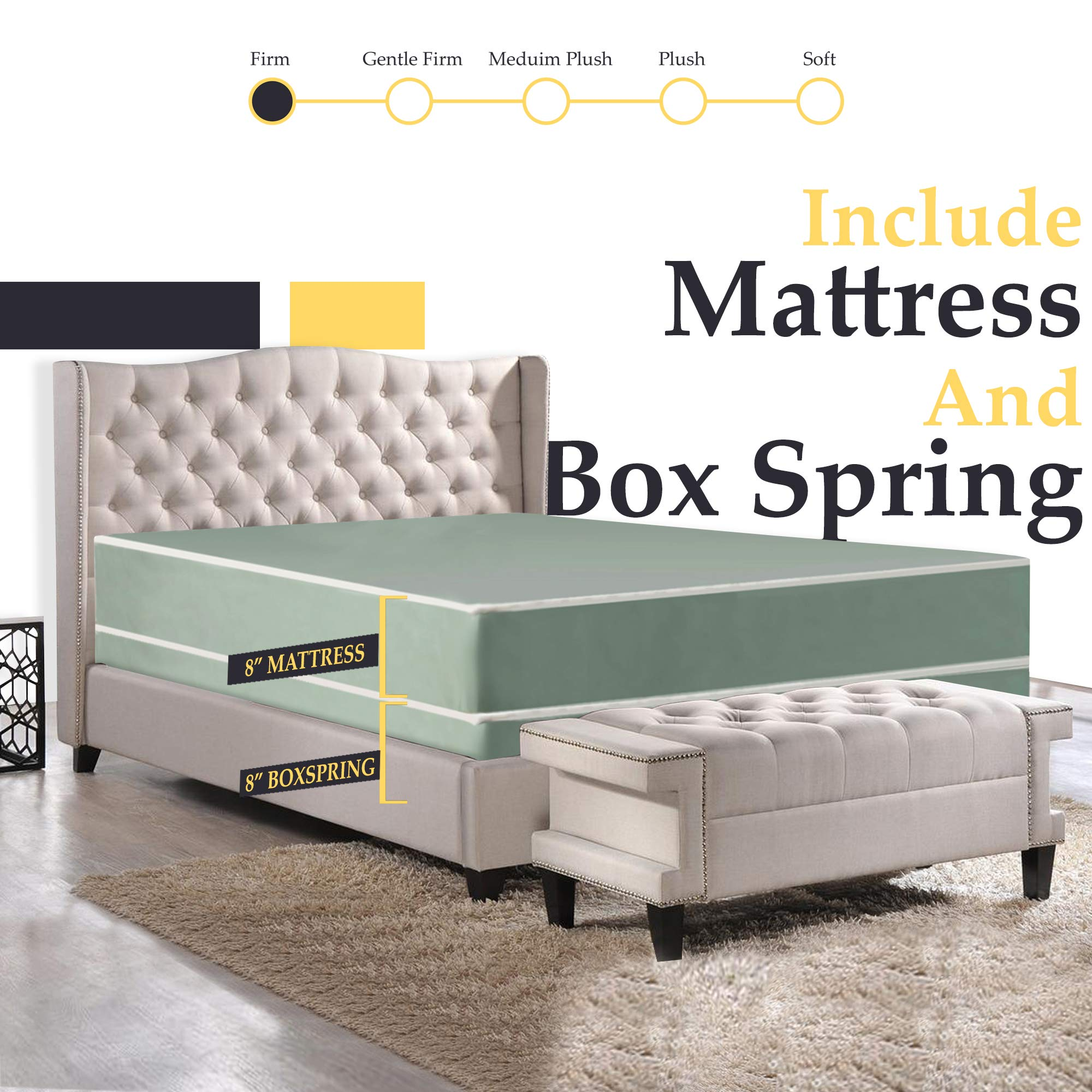 8-Inch Firm Double sided Tight top Innerspring Mattress And 8-Inch Fully Assembled Boxspring/Foundation Set by Nutan