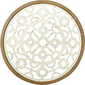 Creative Co-op Round Cut Metal Medallion with Wood Frame Wall Décor, Cream