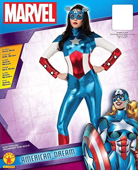 10-12 6 Piece Costume\ Marvel American Dream Womens Adult Large