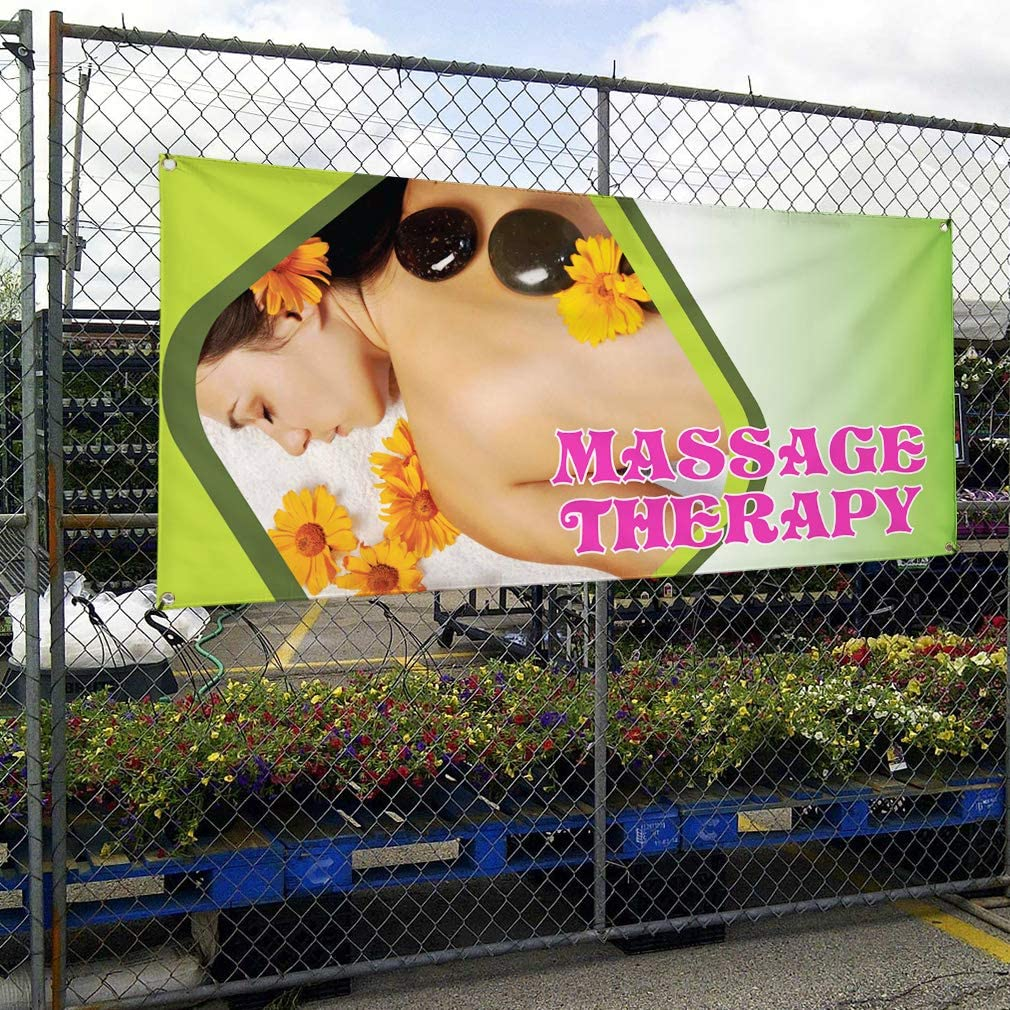Vinyl Banner Sign Massage Therapy #1 Style B Business Marketing Advertising Pink 44inx110in One Banner Multiple Sizes Available 8 Grommets