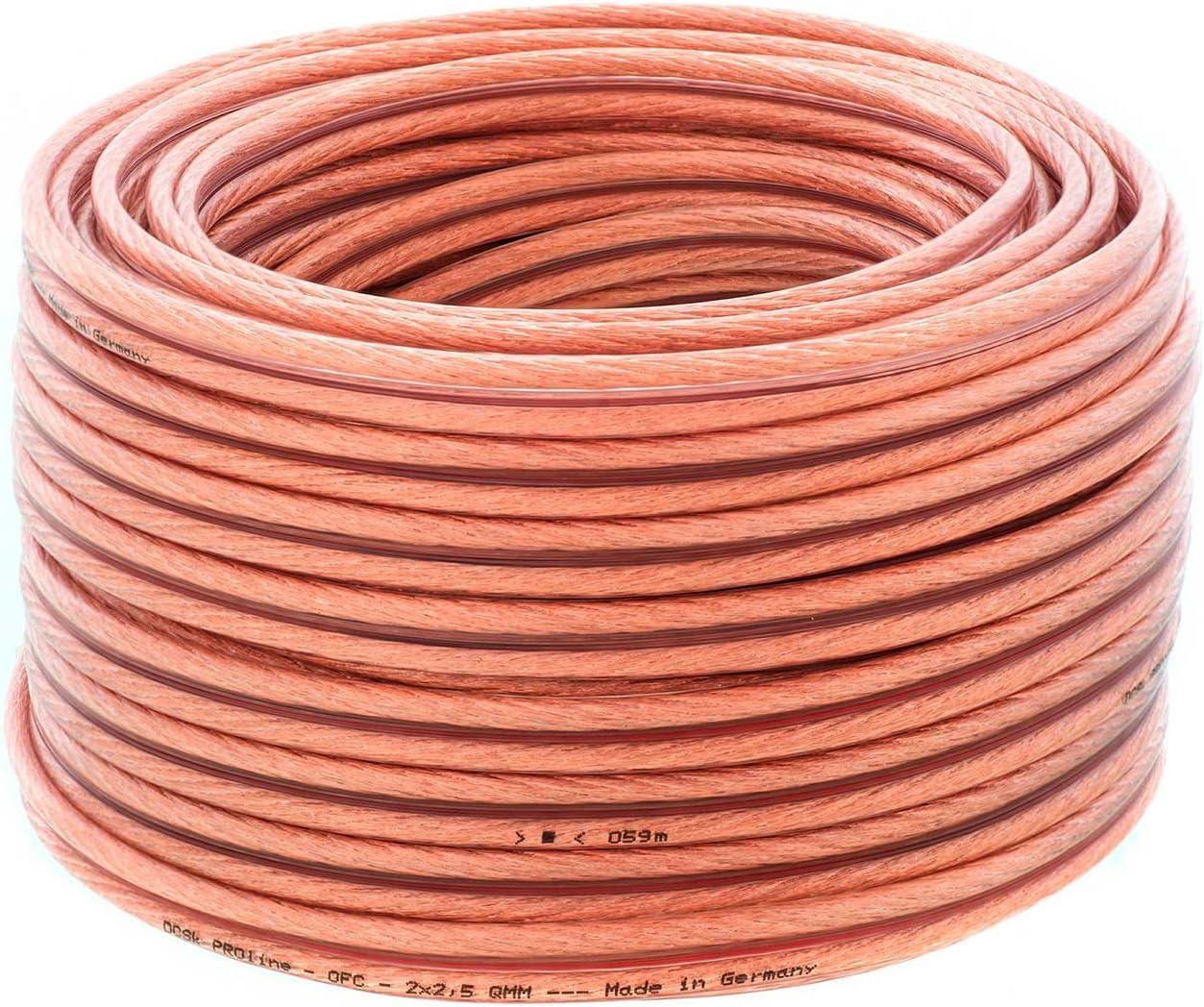 2 x 1,5 mm/² Cable de altavoces plano y blanco I cable de cobre OFC flexible para HiFi//Audio I cable de caja con aislamiento I PROflat 15 DCSk 20m