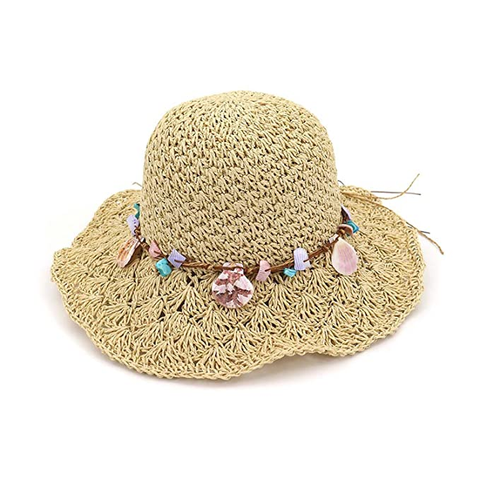 81cc51a7 nboba 2018 Fashion Wide Large Brim Floppy Summer Beach Sunhats for Women  Straw Cap with Shell
