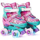 Wheelkids Roller Skates for Toddler Baby Kids Girls Ages 1-12, Pink Unicorn Adjustable Rollerskates Toddlers Beginners 4 Size