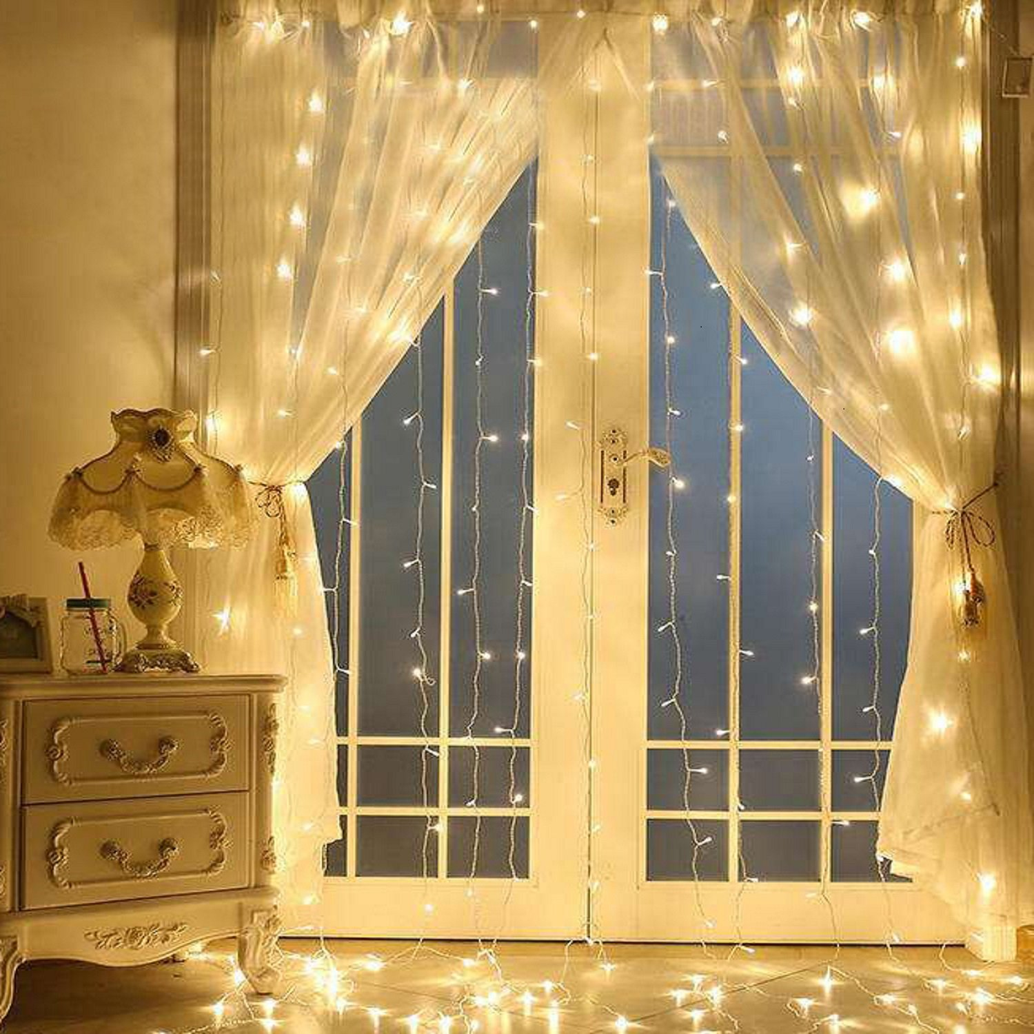 Window Curtain Icicle Lights, LinkStyle 304 LEDS String Fairy Starry Twinkle Stars Lights 9.8ft x 9.8ft with 8 Modes for Wedding Party Home Patio Lawn Garden Bedroom Outdoor Indoor Wall Lights