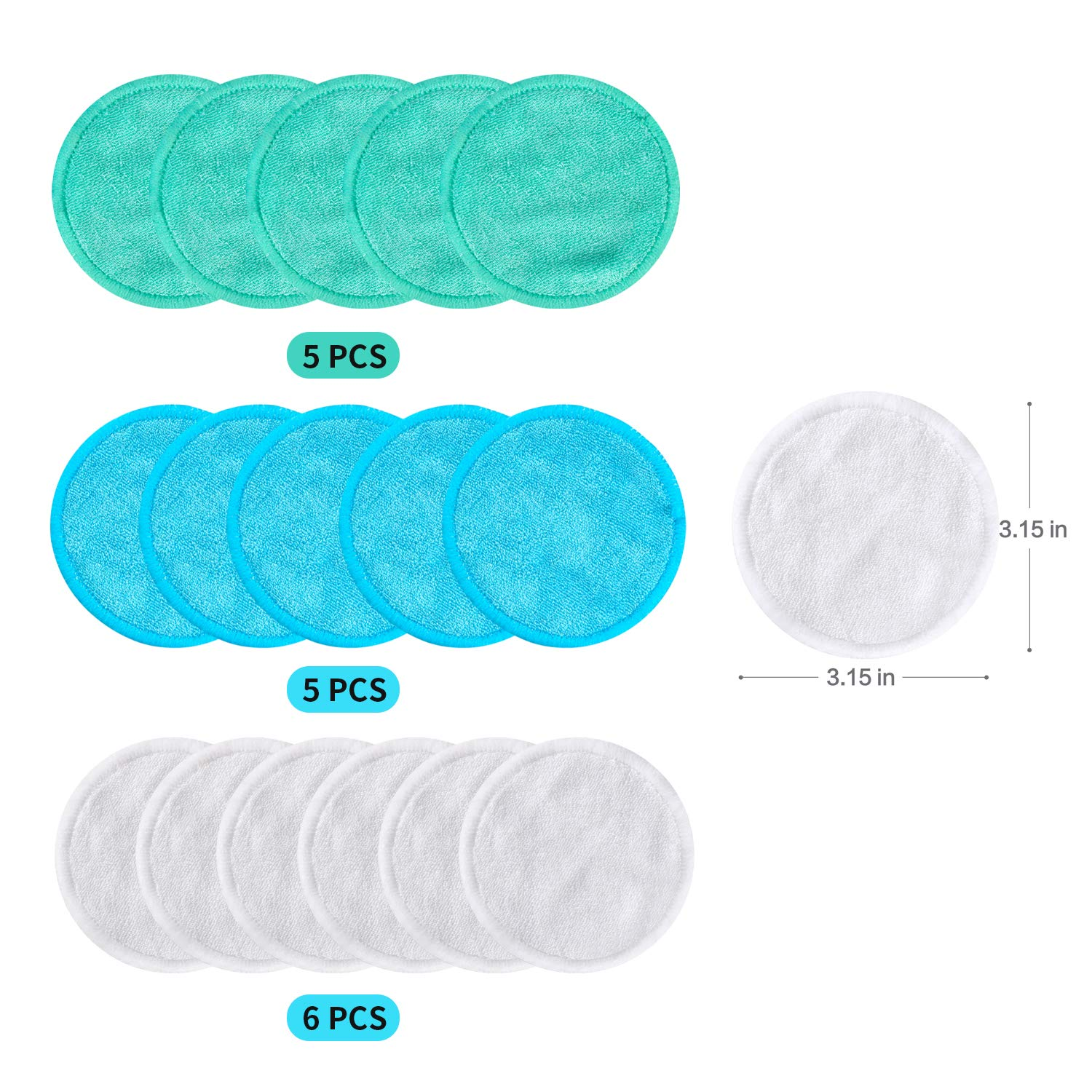 Makeup Remover Pads Reusable 16 Packs Bamboo Facial Toner Pads Cleansing Wipe Cloth Chemical Free With Laundry Bag, ProCIV Washable Clean Skin Care Round Pads Cleansing Towel Wipes 3 Color (3.15 inch) by ProCIV (Image #6)