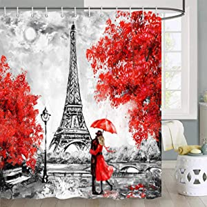 Oil Painting Paris Shower Curtain for Bathroom, European City Landscape France Eiffel Tower Black White Red Modern Couple Bathroom Accessories Set, Fabric Bathroom Curtain Set with Hooks, 70 in