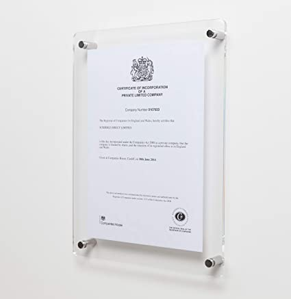 Amazon.com - Wall Mounted Clear Acrylic Photo/Certificate frame for ...