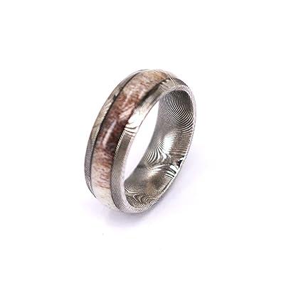 men women damascus steel and deer antler wedding engagement ring dome shape with free wood jewelry - Deer Antler Wedding Rings