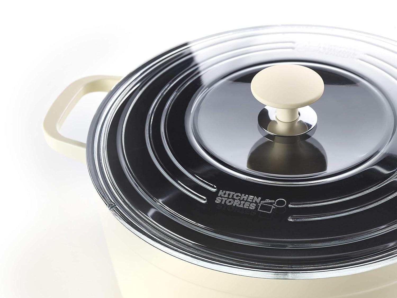 Kitchen Stories SimmerPro - Olla de hierro con tapa templada, cerámica sana antiadherente, Aluminio, Apta para inducción, Blanca - 28 cm/6,6 L