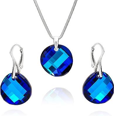 LillyMarie Femme Ensemble de Bijoux Vrai Argent Pendentif Swarovski Elements Originaux Bleu Longueur R/églable Coffret Cadeau Pour les Femmes