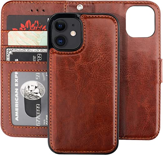 Bocasal Compatible with iPhone 12 /& iPhone 12 Pro Wallet Case with Card Holder PU Leather Magnetic Detachable Kickstand Shockproof Wrist Strap Removable Flip Cover 6.1 inch Brown