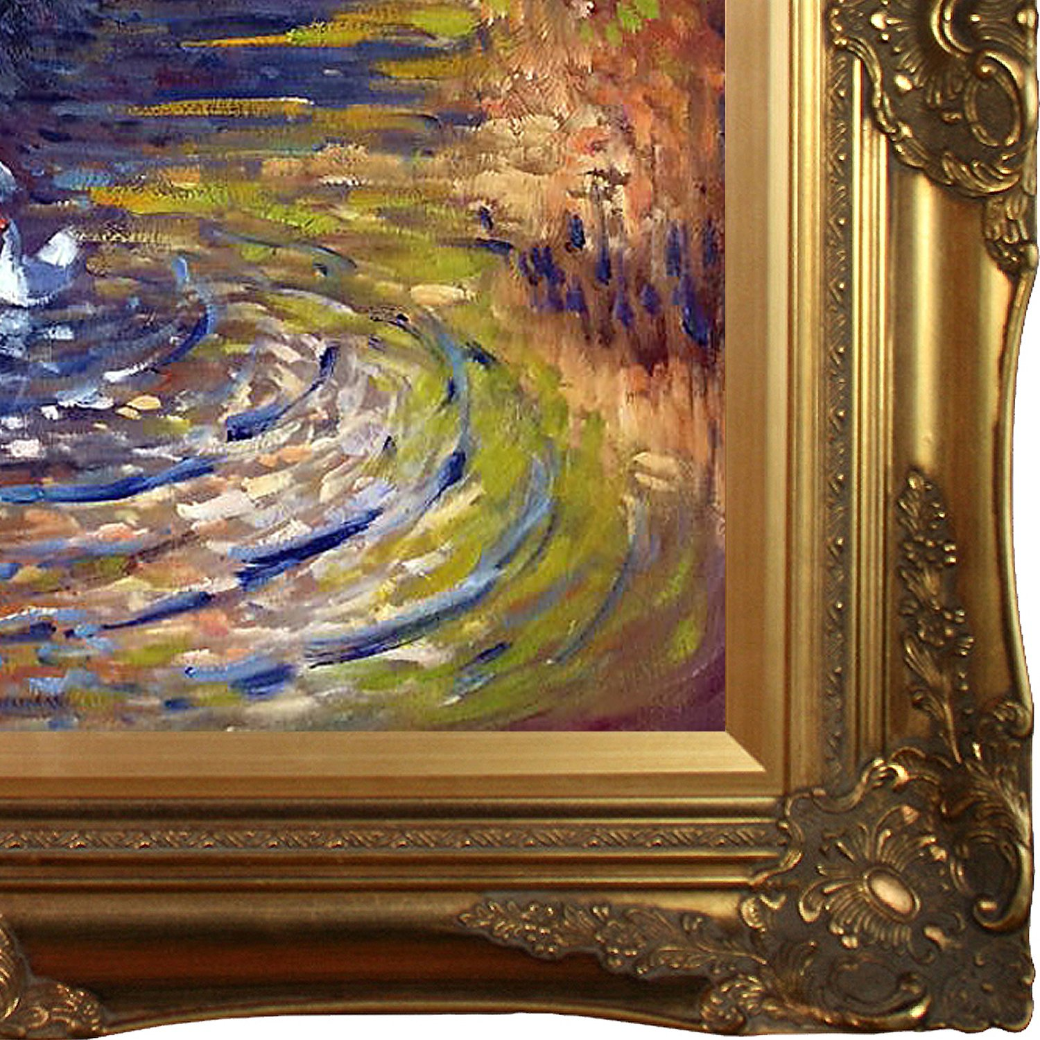 overstockArt Geese in The Creek by Monet with Victorian Gold Frame and Gold Finish Artwork