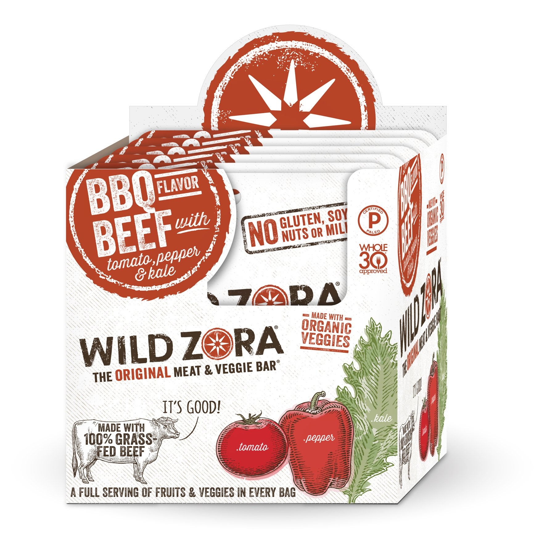 BBQ Beef - Meat and Veggie Bar (12-pack) are made with grass-fed beef and organic vegetables. Our paleo beef snacks are gluten-free and Whole30 Approved. This is beef jerky kicked up to a new level.