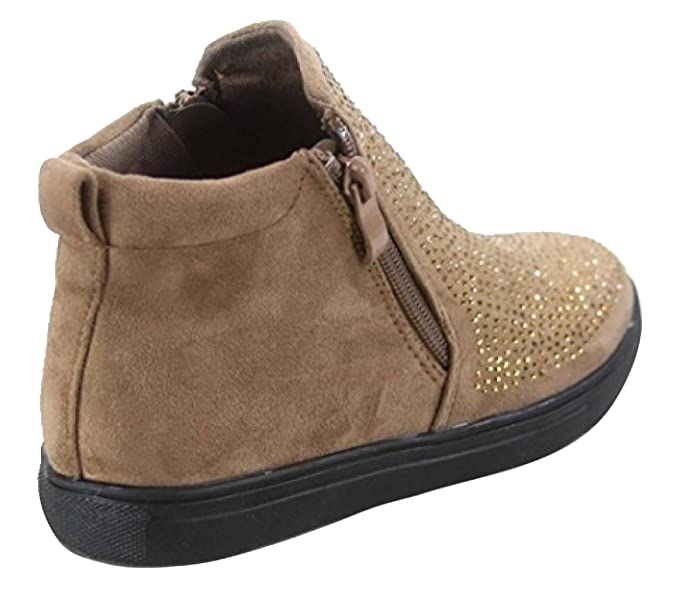 Amazon.com | Faun Best Sparkly Tan Faux Leather School Shoe Sneaker Cool Wide Comfy Botines Marrones Above Ankle Bootie Boot Shoe 2019 Idea for Little Girl ...