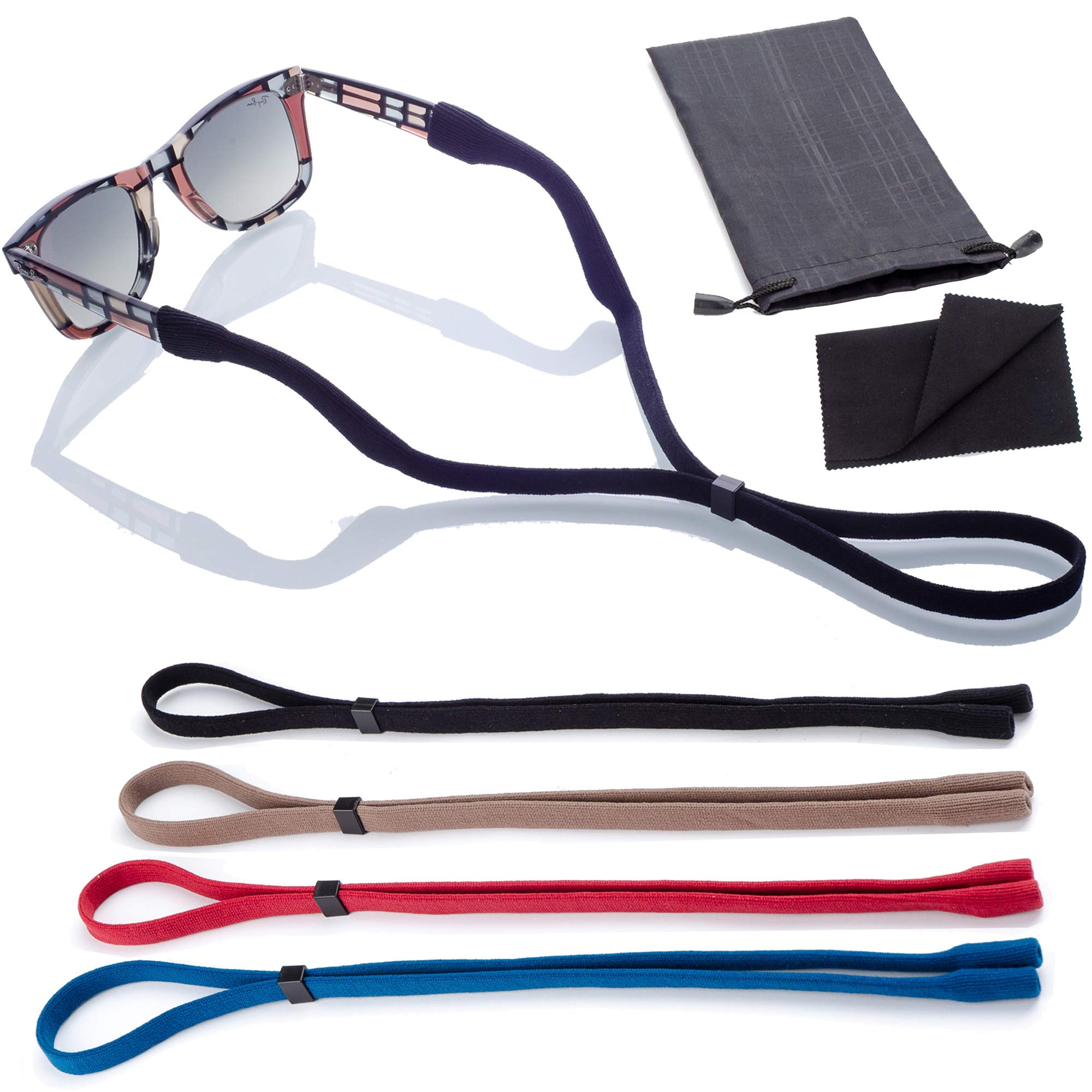 Sunglass Glasses Straps | 4pk with Bonus Case/Cloth | Adjustable and Universal Fit by Anchor Glasses Straps