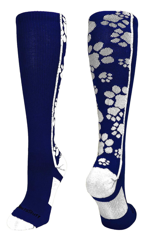 MadSportsStuff 靴下 クレイジー 動物の足跡の柄 ふくらはぎ丈 複数の色 B01MYFB7KY Small|ネイビー/ホワイト ネイビー/ホワイト Small