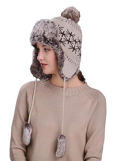 24ba4022705 Home Prefer Womens Girls Earflap Hat Faux Fur Knit Hat Warm Snow Ski Trapper  Hat (