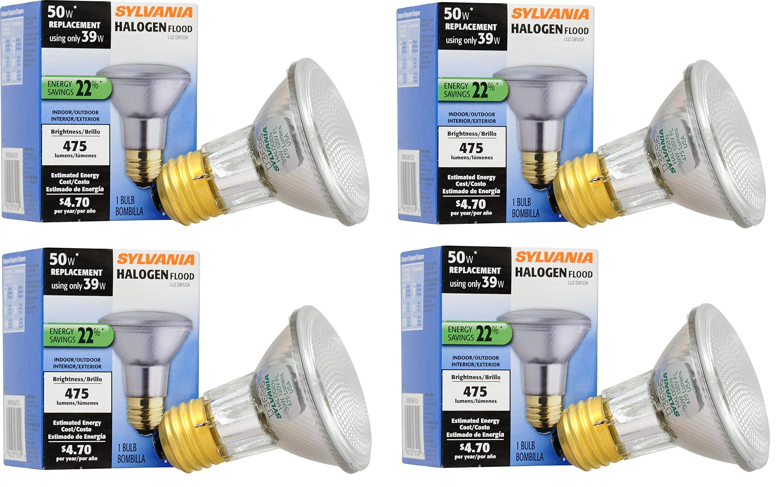 SYLVANIA 4 Pack Capsylite Halogen Dimmable Lamp/PAR20 Flood Light Reflector/50W Replacement/Medium Base E26/39 Watt/2850 K - Warm White (4 Pack) by SYLVANIA
