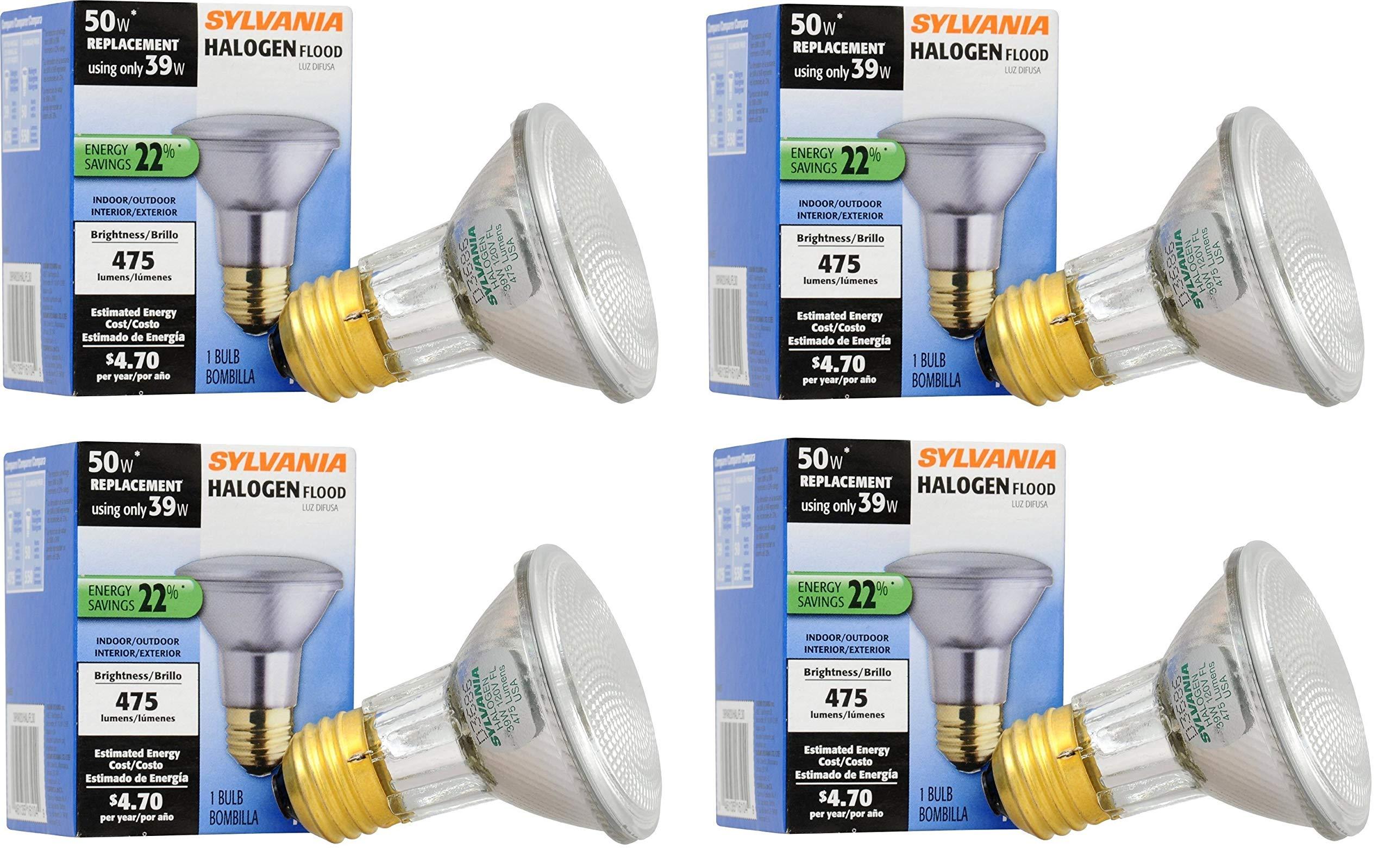 SYLVANIA 4 Pack Capsylite Halogen Dimmable Lamp/PAR20 Flood Light Reflector/50W Replacement/Medium Base E26/39 Watt/2850 K - Warm White (4 Pack)