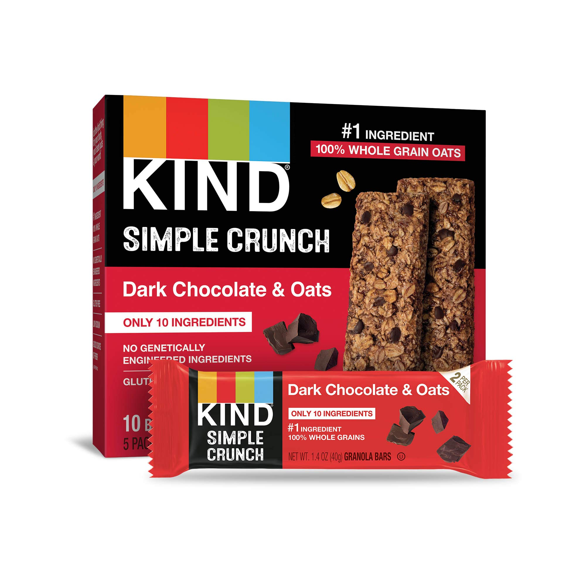 KIND Simple Crunch Bars, Dark Chocolate & Oats, 40 Count by KIND