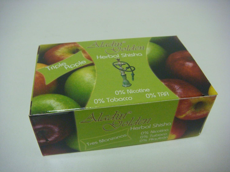 Aladin Golden Shisha (sin nicotina) para Cachimba 10 x 50g Sabor 3 Manzanas-3 Apple ó Variado.