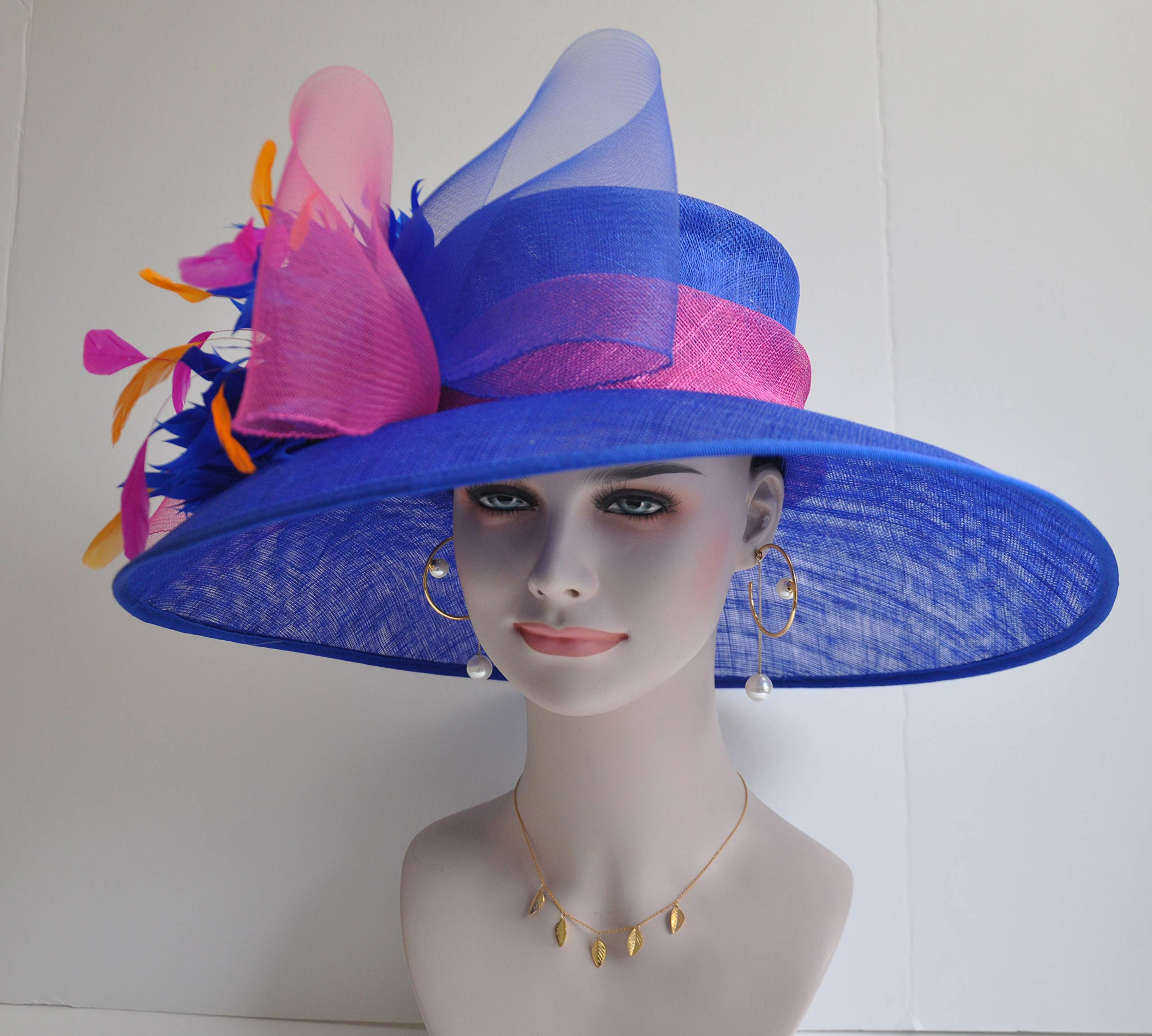 Wide Brim Kentucky Derby Sinamay hat with Feather Flowers Royal Blue with hot Pink and Orange by ray&daniel (Image #4)
