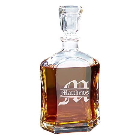Personalized Whiskey Decanter Custom Engraved Liquor Decanter Gifts 23 Oz Free Engraving
