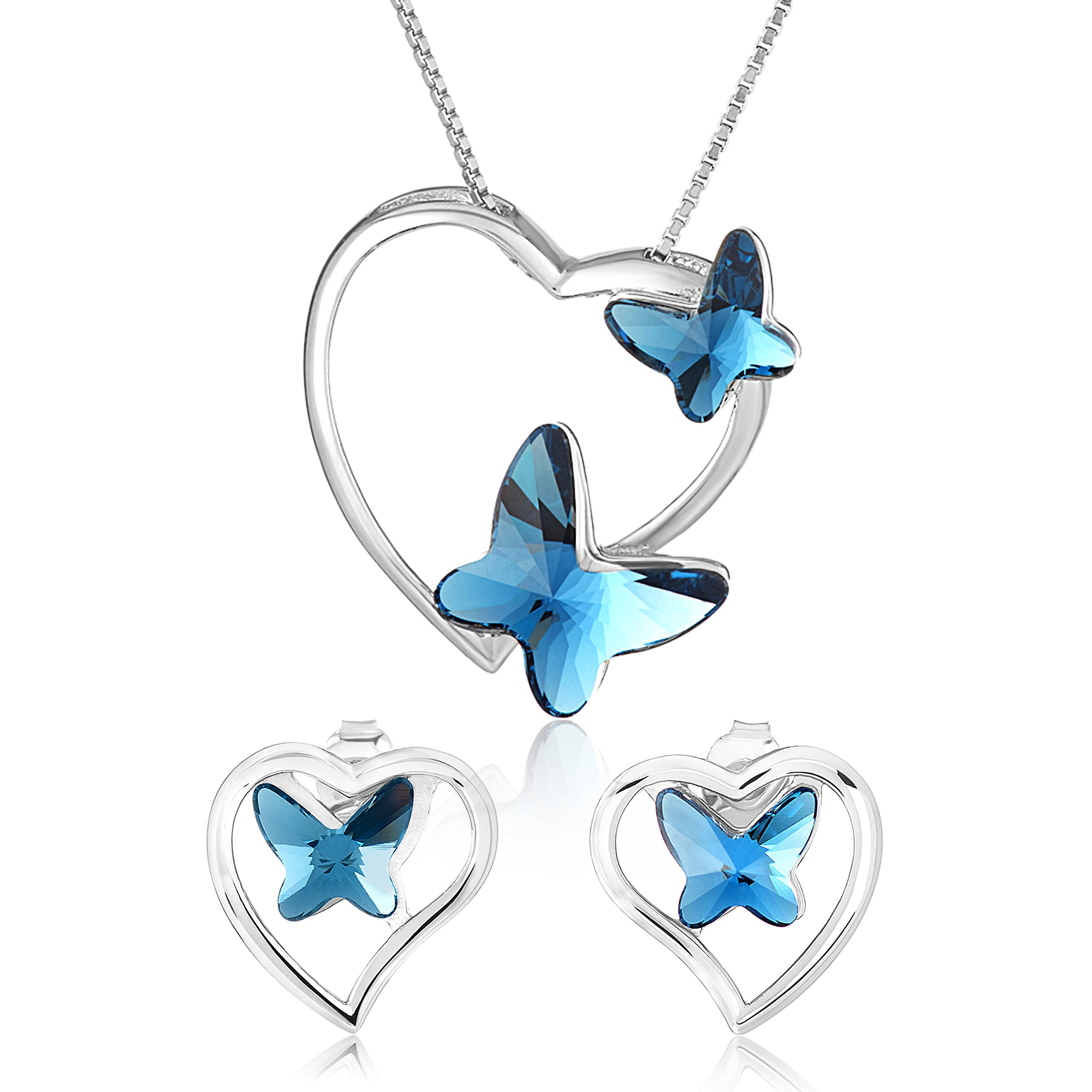 Heart Butterfly Sterling Silver Necklace Earring Matching Womens Girls Jewelry Set, Great for gift, brithdays, present