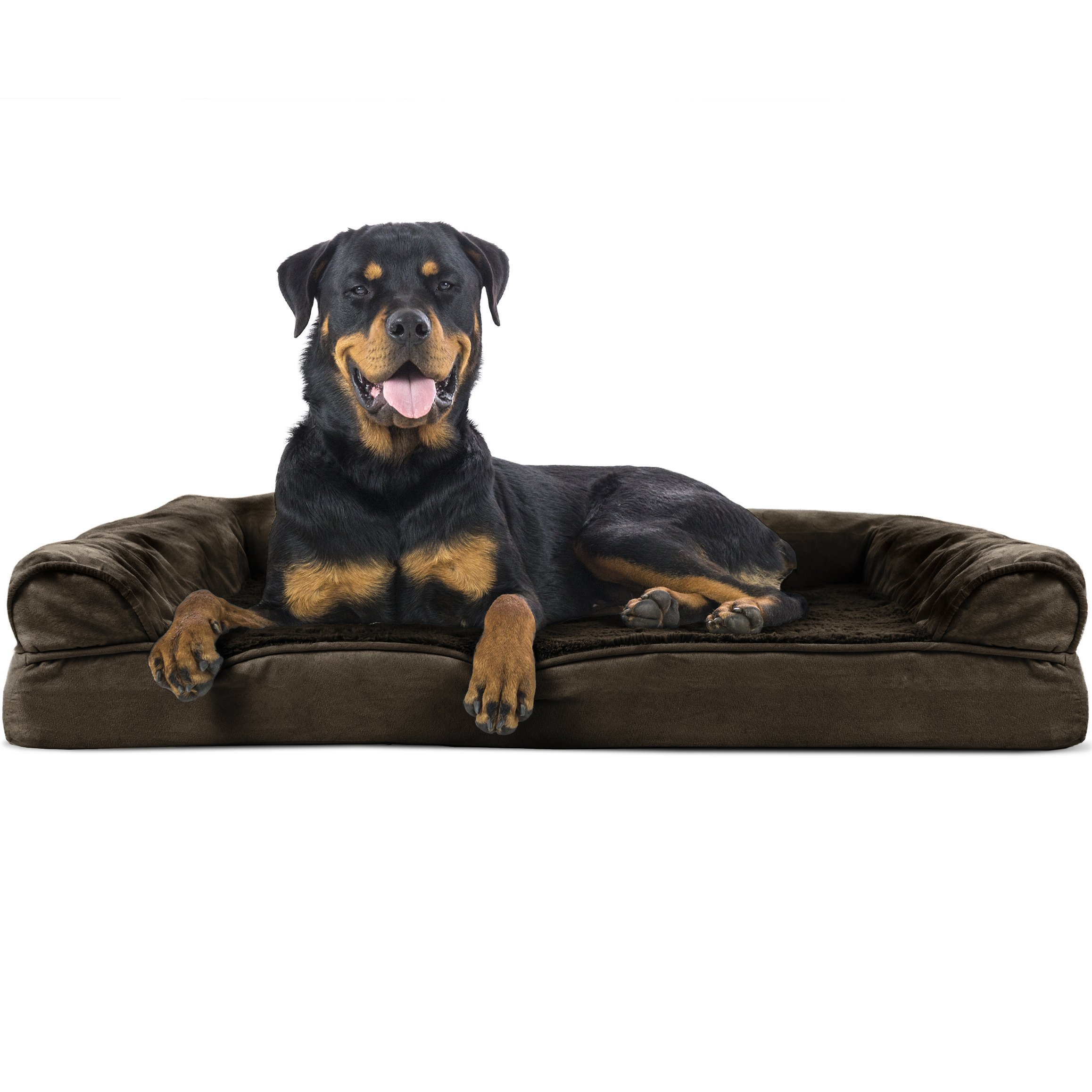 FurHaven Orthopedic Ultra Plush Sofa-Style Couch Pet Bed Dogs Cats, Espresso, Jumbo