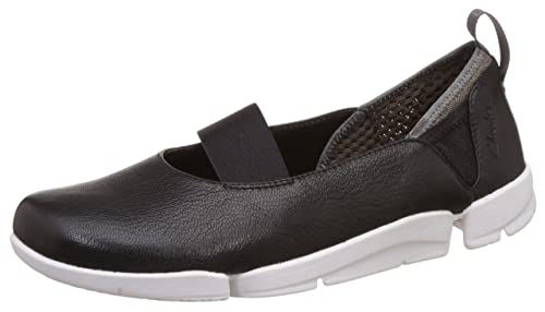 Clarks Womens Sport Clarks Tri Step Leather Shoes In Black Standard Fit  Size 4