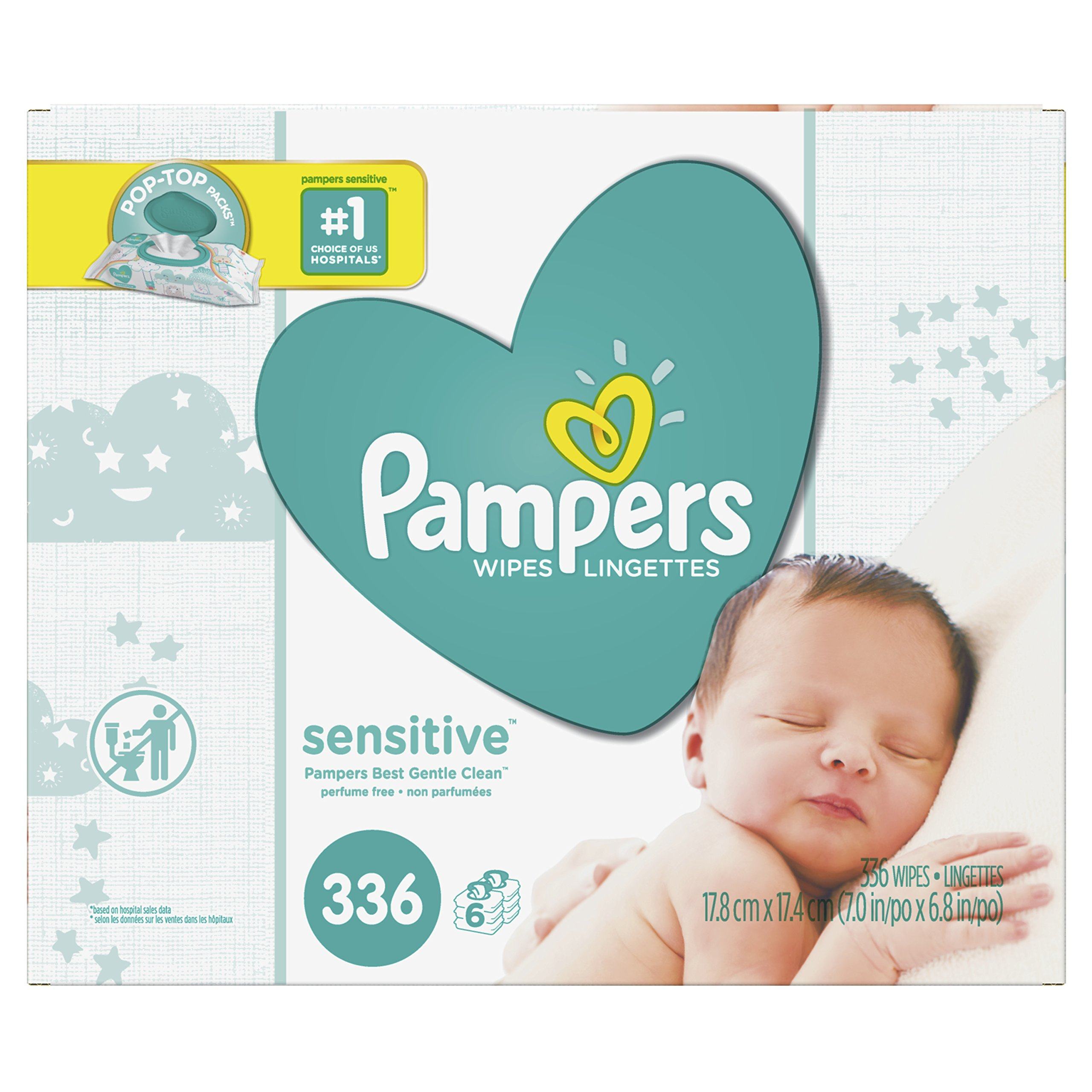 Baby Wipes, Pampers Sensitive Water Baby Diaper Wipes, Hypoallergenic & Unscented, 6X Pop-Top Pack, 336 Total Wipes by Pampers