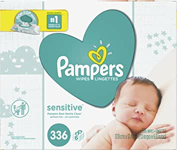 Baby Wipes, Pampers Sensitive Water Based Baby Diaper Wipes, Hypoallergenic and Unscented, 6X Pop-Top Pack, 336 Total Wipes