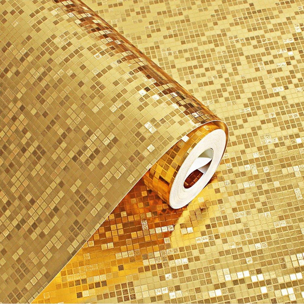 QIHANG Luxury Gold Foil Mosaic Background Flicker Wall Paper Modern ...
