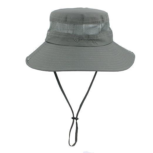 6ea21ef42f184f Summer Boonie Sun Hat UV Protection UPF50+ Hats Wide Brim Bucket Safari Cap  for Men Women