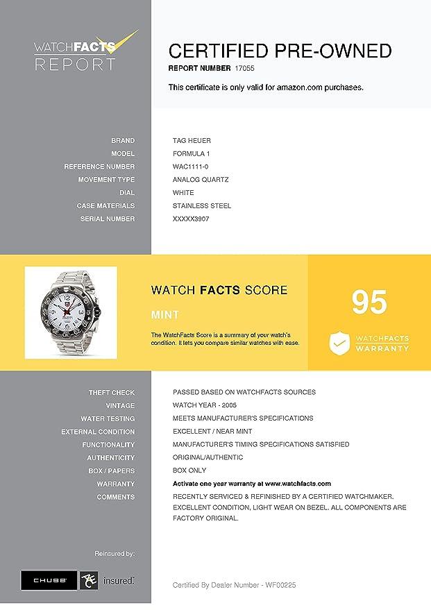 TAG Heuer Formula 1 wac1111 - 0 Reloj de pulsera para hombre en acero inoxidable (Certificado) de segunda mano: Tag Heuer: Amazon.es: Relojes