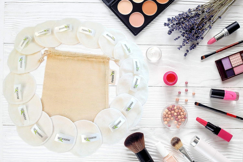 Paquete de 16 almohadillas faciales lavables de bamb/ú Toallitas desmaquillantes ecol/ógicas con bolsa de lavander/ía Almohadillas de algod/ón reutilizables Limpieza Suave y Suave