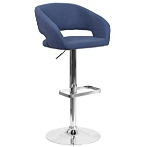 Flash Furniture Contemporary Blue Fabric Adjustable Height Barstool with Rounded Mid-Back and Chrome Base