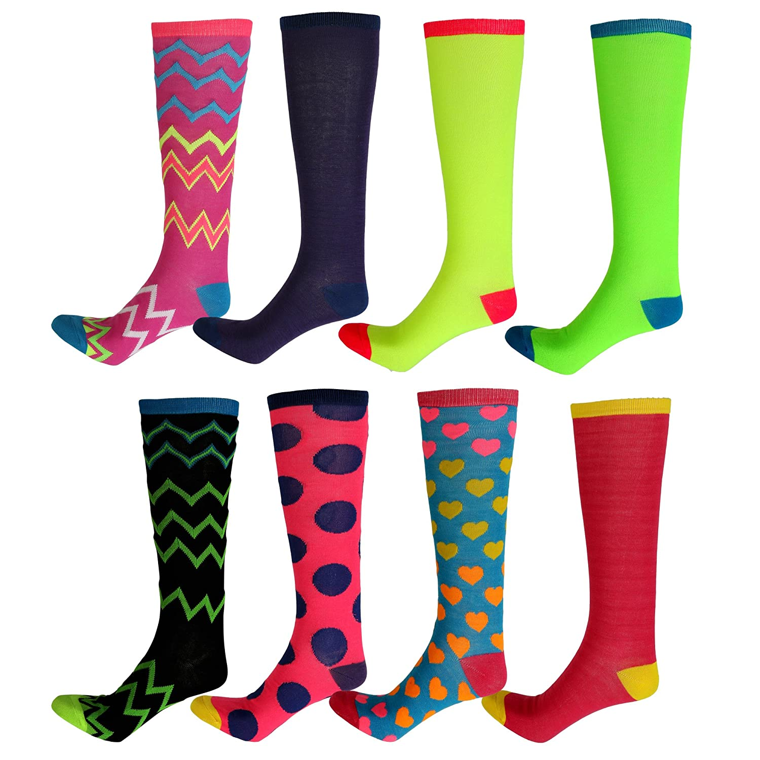 Cheap 4 Pairs Mix Not Match Women's Colorful Knee High Socks free shipping