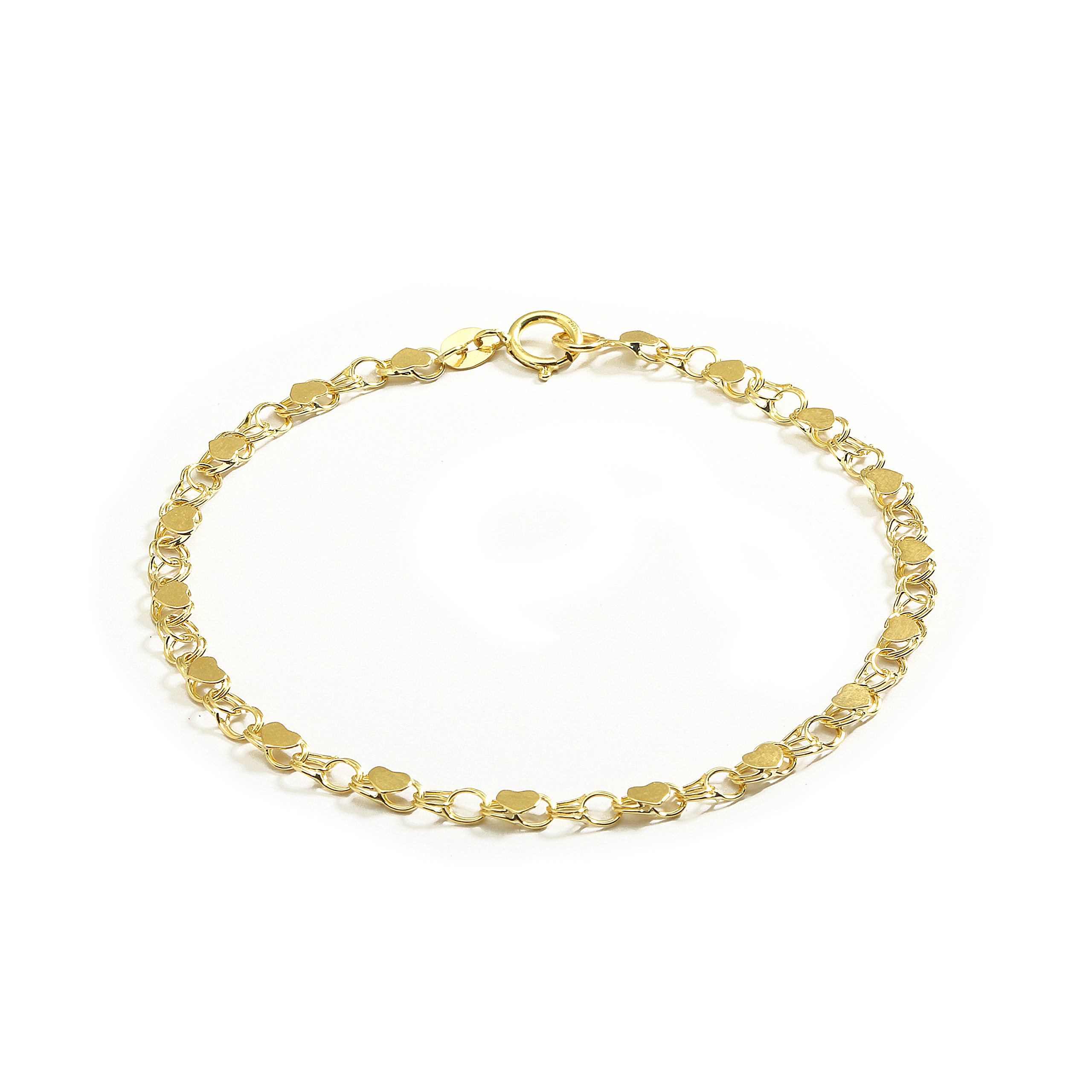 10 Inch 10k Yellow Gold Heart Bracelet and Anklet for Women and Girls, (0.14'')