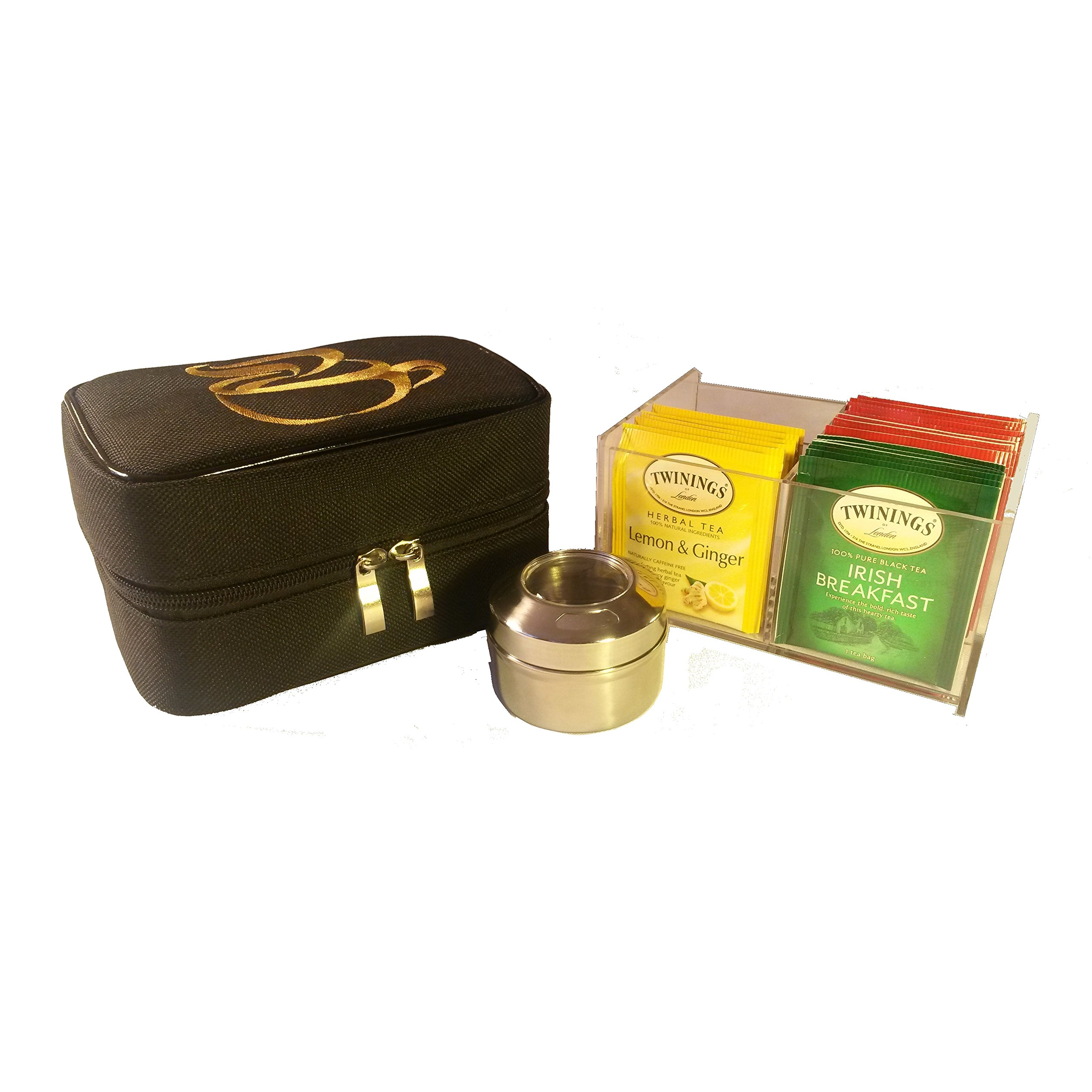 Teacaso Travel Tea Chest Organizer w/Tea Bags and Spice Jar - Great for Home, Office, Travel!