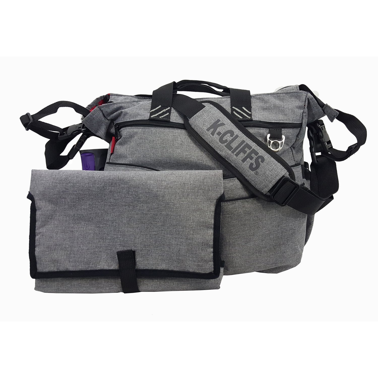 Fashion Diaper Bag Quality Baby Diaper Organizer Tote Bag Mommy Handbag Daddy's Messenger Bag With Padded Changing Mat Gray K-Cliffs RT105 Grey