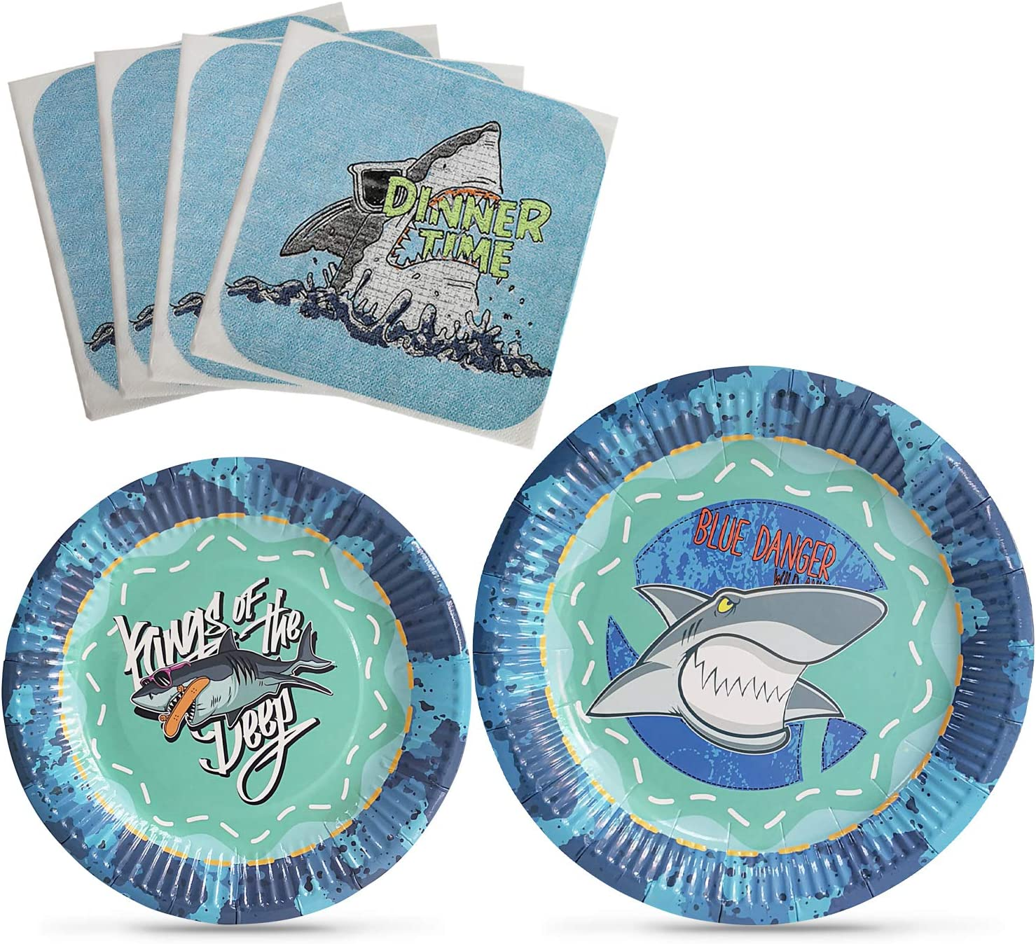 HIPEEWO Shark Birthday Decorations - Shark Party Supplies Shark Plates and Napkins for Boys Birthday Baby Shower Pool Party Serves 16 Guests 48 Pieces